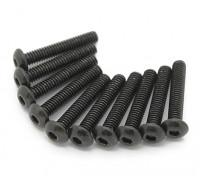 Screw Button Head Hex M2.5 x 14mm Machine Thread Steel Black (10pcs)