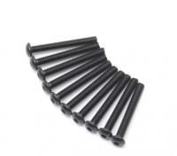 Screw Button Head Hex M2.5 x 20mm Machine Thread Steel Black (10pcs)