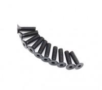 Screw Countersunk Hex M2.6 x 10mm Machine Thread Steel Black (10pcs)