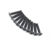 Screw Countersunk Hex M2.6 x 14mm Machine Thread Steel Black (10pcs)