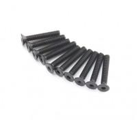 Screw Countersunk Hex M2.6 x 16mm Machine Thread Steel Black (10pcs)