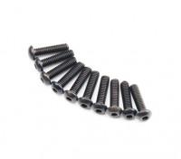 Screw Button Head Hex M2.6 x 10mm Machine Thread Steel Black (10pcs)