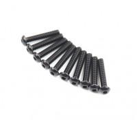 Screw Button Head Hex M2.6 x 14mm Machine Thread Steel Black (10pcs)