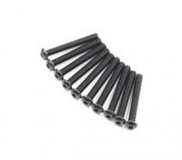 Screw Button Head Hex M2.6 x 20mm Machine Thread Steel Black (10pcs)