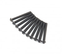 Screw Button Head Hex M2.6 x 22mm Machine Thread Steel Black (10pcs)
