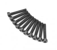 Screw Socket Head Hex M2.6 x 14mm Machine Thread Steel Black (10pcs)