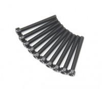 Screw Socket Head Hex M2.6 x 22mm Machine Thread Steel Black (10pcs)
