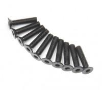Screw Countersunk Hex M3x14mm Machine Thread Steel Black (10pcs)