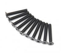 Screw Countersunk Hex M3x20mm Machine Thread Steel Black (10pcs)