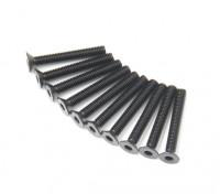 Screw Countersunk Hex M3x22mm Machine Thread Steel Black (10pcs)