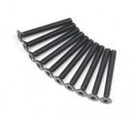 Screw Countersunk Hex M3x26mm Machine Thread Steel Black (10pcs)