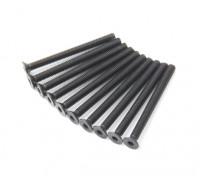 Screw Countersunk Hex M3x34mm Machine Thread Steel Black (10pcs)