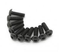 Screw Button Head Hex M3x6mm Machine Thread Steel Black (10pcs)