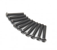 Screw Button Head Hex M3x16mm Machine Thread Steel Black (10pcs)