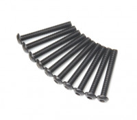 Screw Button Head Hex M3x24mm Machine Thread Steel Black (10pcs)