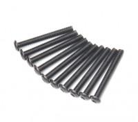 Screw Button Head Hex M3x26mm Machine Thread Steel Black (10pcs)