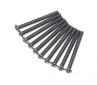 Screw Button Head Hex M3x32mm Machine Thread Steel Black (10pcs)