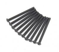 Screw Button Head Hex M3x36mm Machine Thread Steel Black (10pcs)
