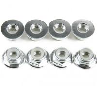 Aluminum Flange Low Profile Nyloc Nut M5 Silver (CW) 8pcs