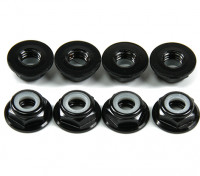 Aluminum Flange Low Profile Nyloc Nut M5 Black (CW) 8pcs