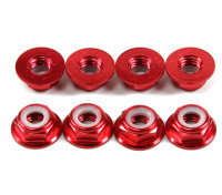 Aluminum Flange Low Profile Nyloc Nut M5 Red (CW) 8pcs