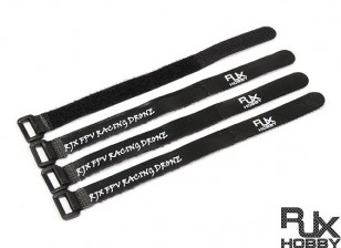 RJX Ultra-Grip Silicone Velcro Battery Straps Black (200X15mmx4pcs)