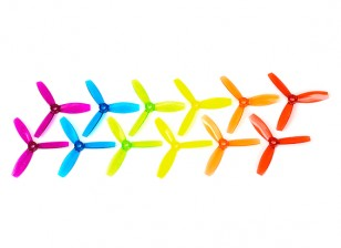 DYS X3045 3-Blade Polycarbonate Propellers (6 pairs CW & CCW, assorted colors)