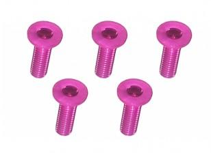 Screw Flat Head Hex M3x10mm Machine Thread 7075 Aluminum Pink (5pcs)