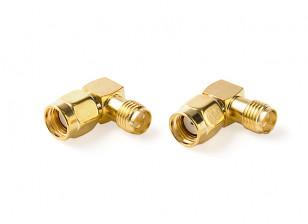 RP-SMA Jack -- RP-SMA Plug 90 Degree Adapter (2pcs/set)