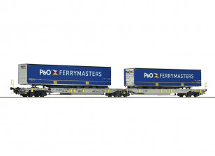 Roco/Fleischmann HO Scale Articulated Double Pocket Wagon P&O Ferrymasters