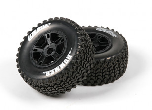 LOUISE SC-HUMMER 1/10 Scale Truck Front Tires Soft Compound / Black Rim / Mounted