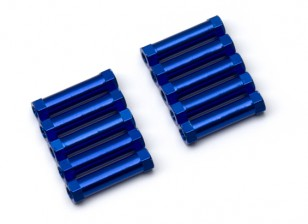 Lightweight Aluminium Round Section Spacer M3x20mm (Blue) (10pcs)