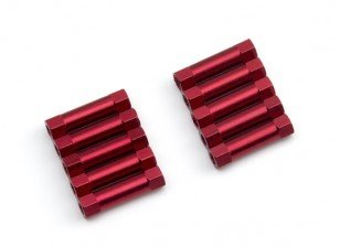 Lightweight Aluminium Round Section Spacer M3x20mm (Red) (10pcs)