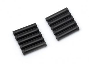 Lightweight Aluminium Round Section Spacer M3x24mm (Black) (10pcs)