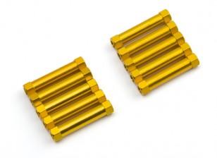 Lightweight Aluminium Round Section Spacer M3x25mm (Gold) (10pcs)