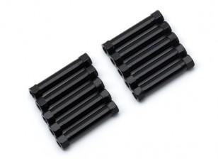 Lightweight Aluminium Round Section Spacer M3x26mm (Black) (10pcs)