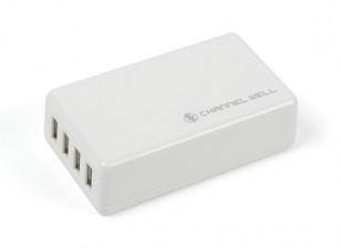 USB 4 Port 25W/5A Charger (US Plug)