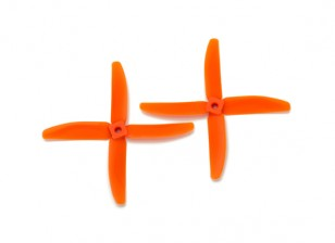 Gemfan Bullnose Polycarbonate 5040 4-Blade Propellers Orange (CW/CCW) (1 Pair)
