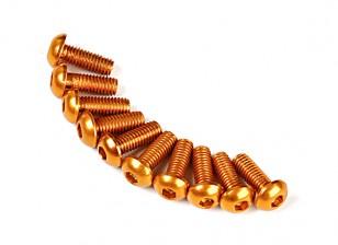 Screw Round Head Hex M3 x 8mm 7075 Aluminium Gold (10pcs)