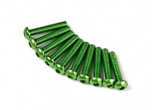 Screw Round Head Hex M3 x 16mm 7075 Aluminium Green (10pcs)