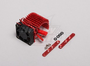 Red Aluminum Motor Heat Sink w/adjustable fan (side) 36mm Inrunner