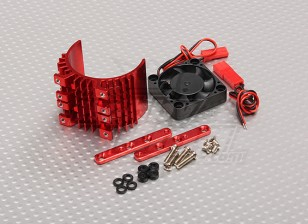 Motor Heat Sink w/Fan Red Aluminum (36mm)