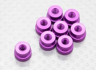 Knurled Alloy Latch Nut M4 Anodised Purple (8pc)