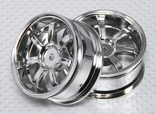 1:10 Scale Wheel Set (2pcs) Chrome 7-Spoke RC Car 26mm (3mm offset)