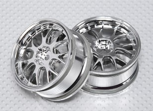 1:10 Scale Wheel Set (2pcs) Chrome 'Y' 7-Spoke RC Car 26mm (No Offset)
