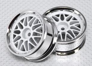 1:10 Scale Wheel Set (2pcs) White/Chrome Split 10-Spoke RC Car 26mm (no offset)