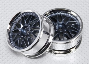 1:10 Scale Wheel Set (2pcs) Chrome/Gun Metal 'Y' 7-Spoke RC Car 26mm (No Offset)