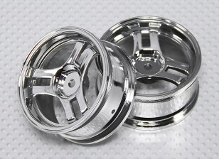 1:10 Scale Wheel Set (2pcs) Chrome Split 3-Spoke RC Car 26mm (No Offset)