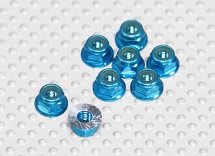 Blue Anodised Aluminum M4 Nylock Wheel Nuts w/ Serrated Flange (8pcs)