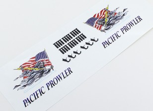 "TD-025 Nose Art - ""PACIFIC PROWLER"" (American Flag) L/R Handed Decal"